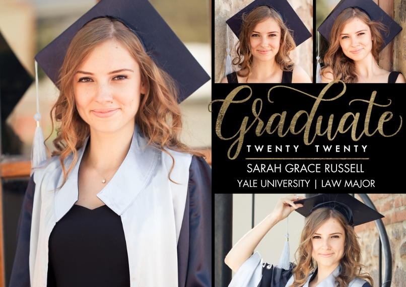 2020 Graduation Announcements Flat Matte Photo Paper Cards with Envelopes, 5x7, Card & Stationery -Graduate Twenty Twenty Script by Tumbalina
