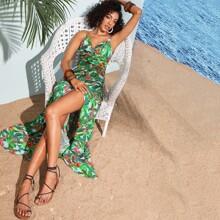 Vestido slip con estampado tropical de muslo con abertura de cintura girante de espalda abierta