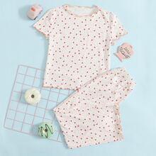 T-Shirt mit Erdbeere Muster, gekraeuseltem Saum und Hose Schlafanzug Set
