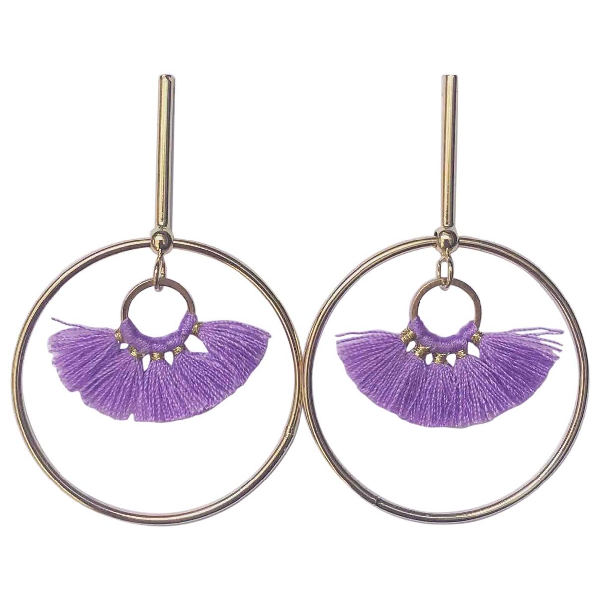 - Boucles doreilles Motifs Ethniques pour femme en metal - violet