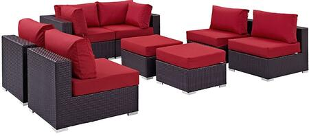 Convene Collection EEI-2204-EXP-RED-SET 8 PC Outdoor Patio Sectional Set with Water Resistant  Powder Coated Aluminum Frame  Synthetic Rattan Weave