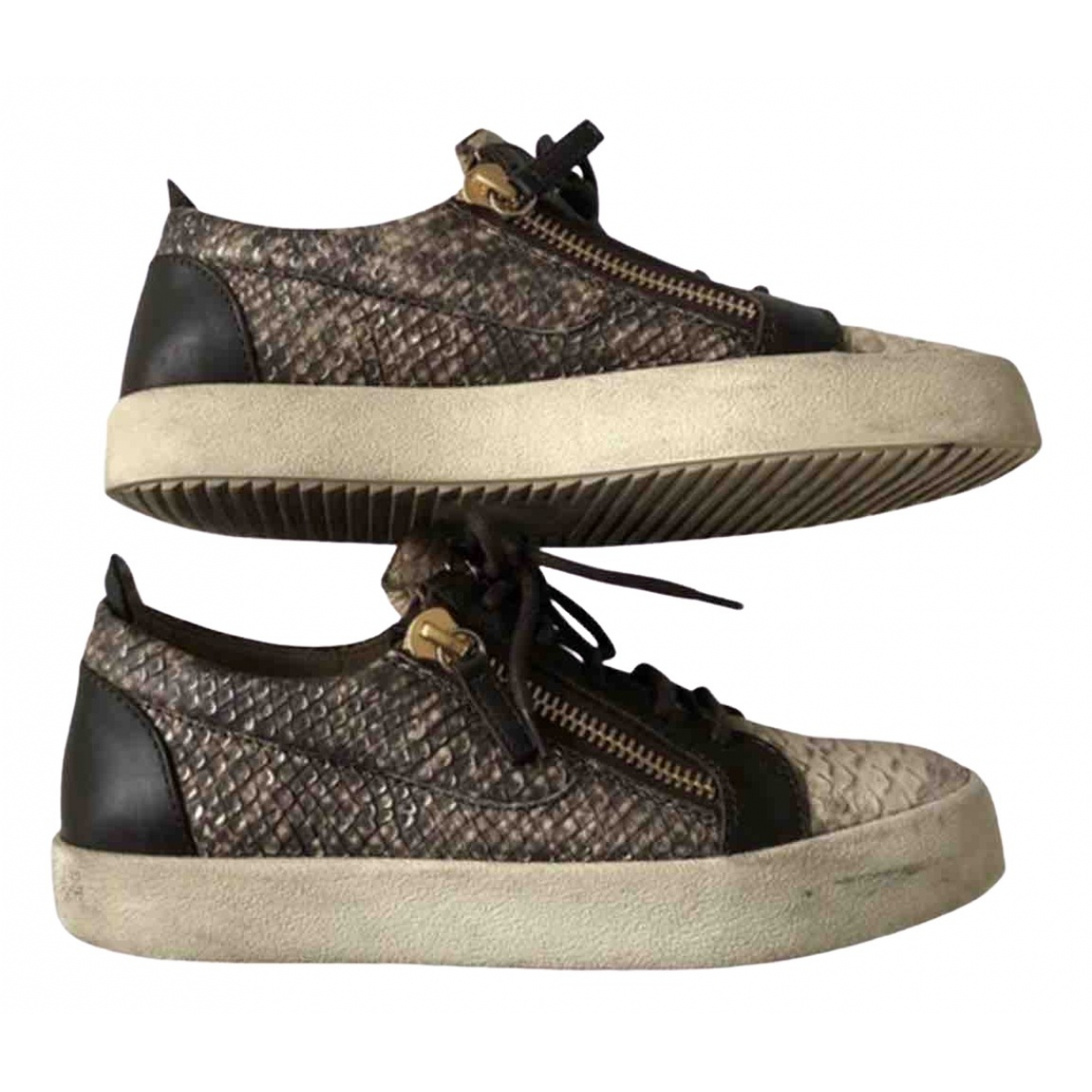 Giuseppe Zanotti Nicki Brown Water snake Trainers for Women 39 EU