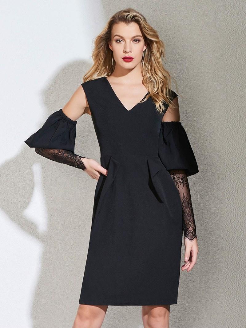 Ericdress Sheath Black Bodycon Homecoming Dress With Long Sleeve