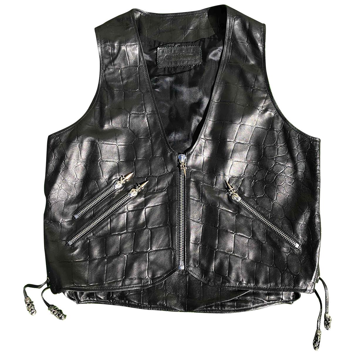 Cesare Paciotti \N Pullover.Westen.Sweatshirts  in  Schwarz Leder