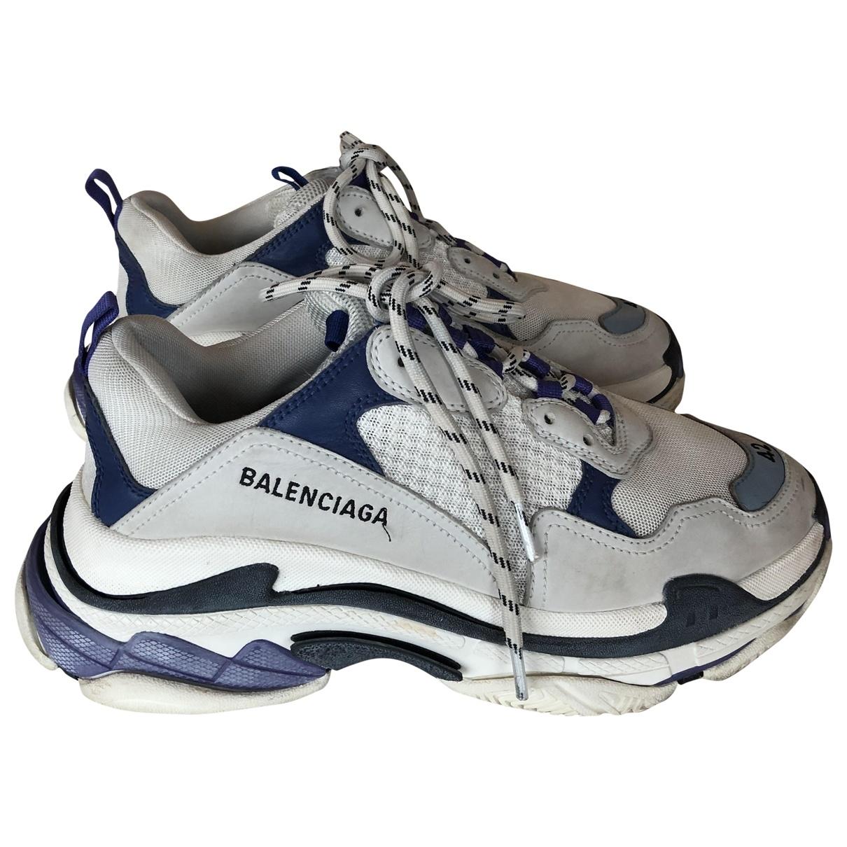 Balenciaga - Baskets Triple S pour homme en cuir - bleu