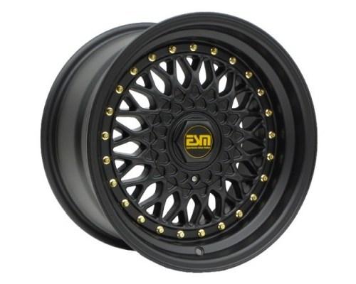 ESM Wheels ESM-002RMBGR15X9 Matte Black/Gold Rivet ESM-002R Cast Wheel 15x9 4/5x100 +10mm