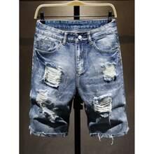 Denim Shorts mit Riss und Waschung