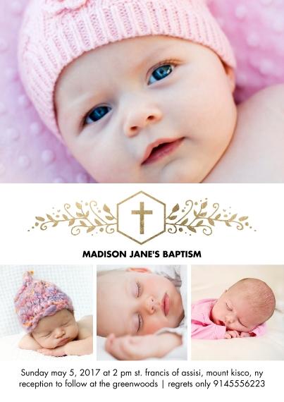 Baptism Invitations 5x7 Cards, Premium Cardstock 120lb with Elegant Corners, Card & Stationery -Baptism Gold Cross