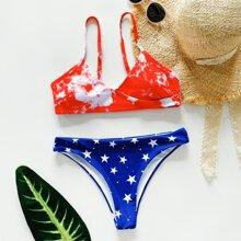 Bikini Badeanzug mit Batik & Stern Muster