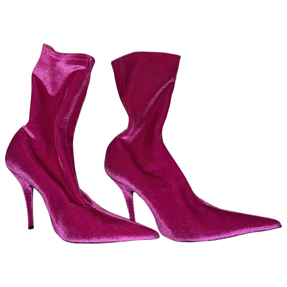 Balenciaga - Bottes Knife pour femme en toile - rose