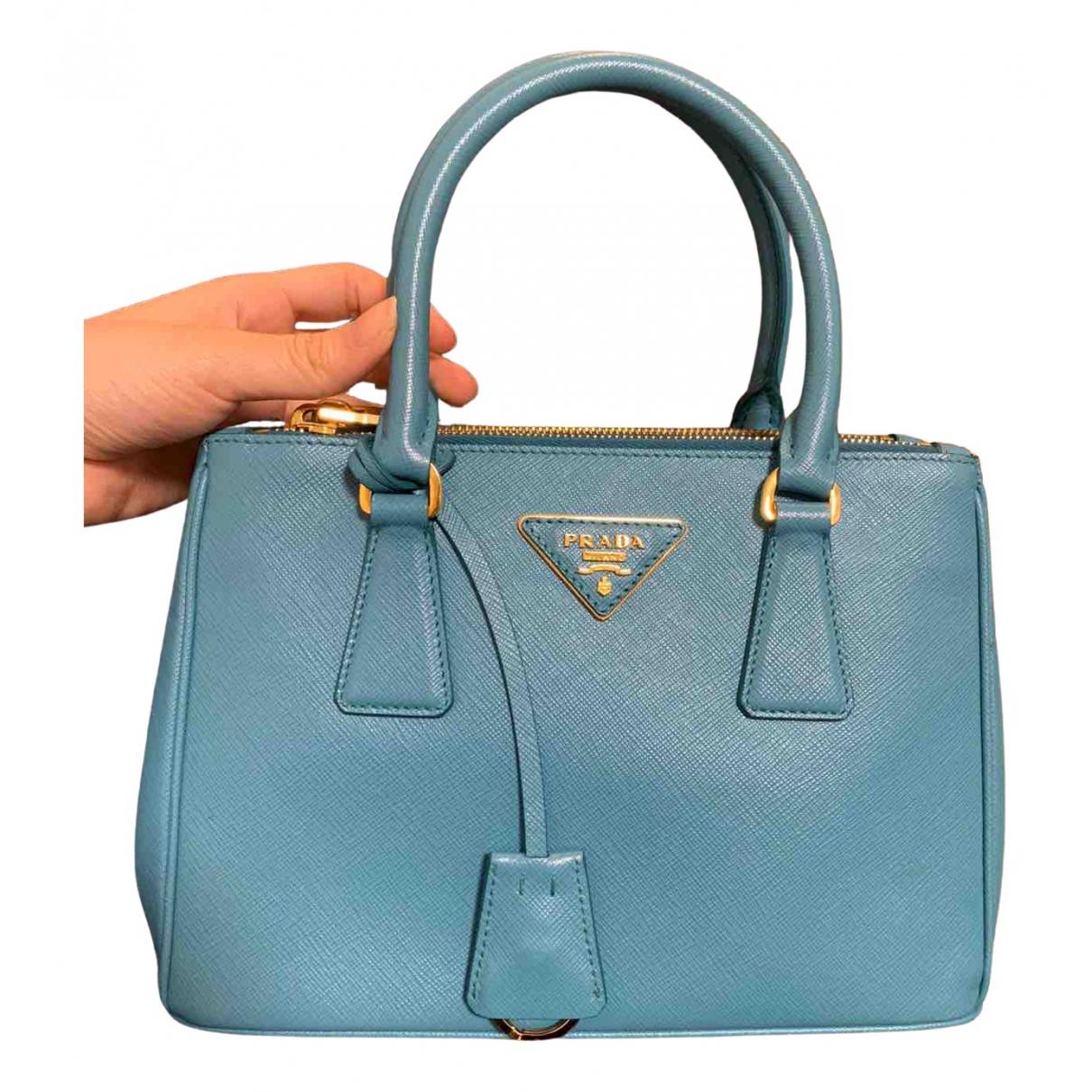 Prada - Sac a main saffiano  pour femme en cuir - bleu