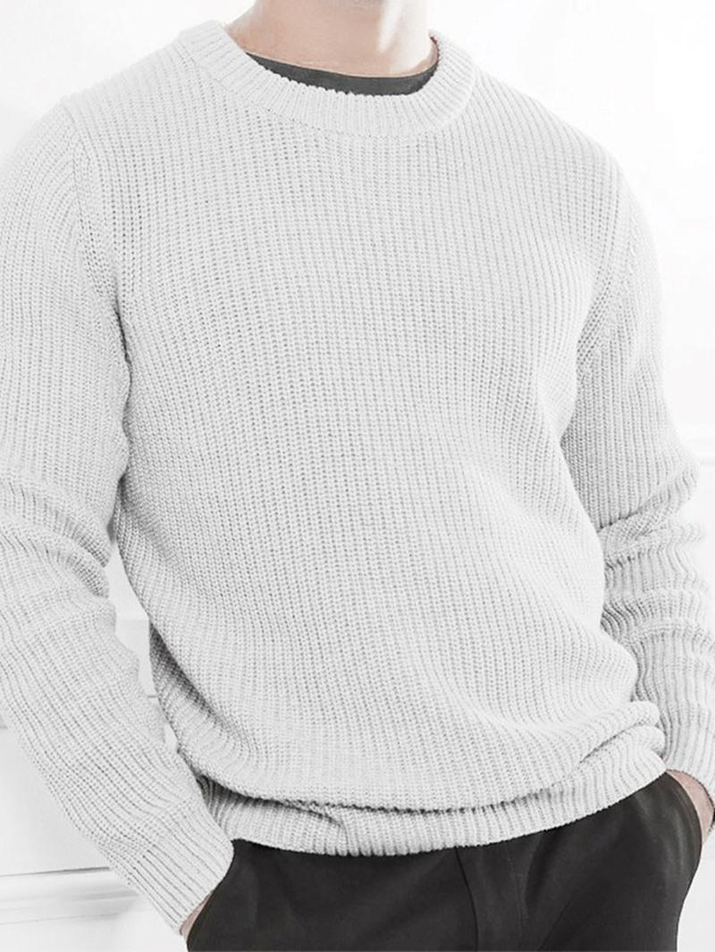 Ericdress Standard Plain Round Neck Casual Men's Sweater