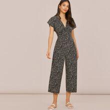 Twist Front Allover Print Culotte Jumpsuit
