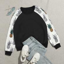 Sweatshirt mit Farbblock & Ananas Muster und Raglanaermeln