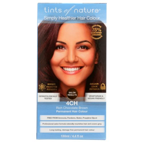Permanent Hair Color 4CH Rich Chocolate Brown 4.4 Oz by Tints of Nature