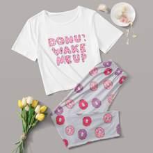 Donuts & Slogan Graphic PJ Set