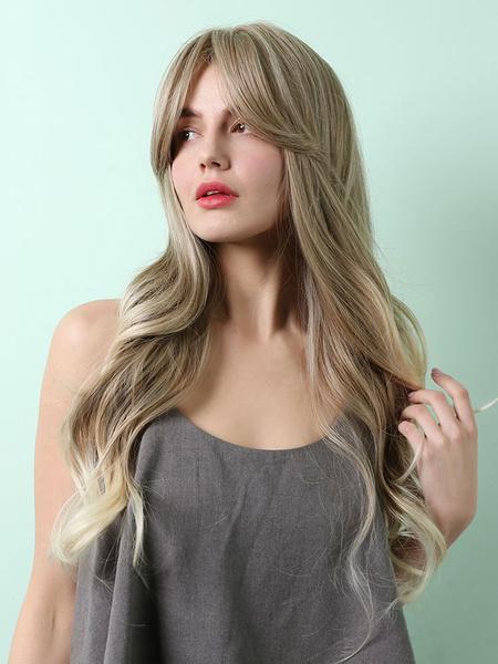 Milanoo Peluca de cabello largo Rizos en los extremos Pelucas sinteticas largas en capas