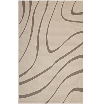 Surge Collection R-1138A-810 Swirl Abstract 8x10 Indoor and Outdoor Area Rug in Light and Dark Beige