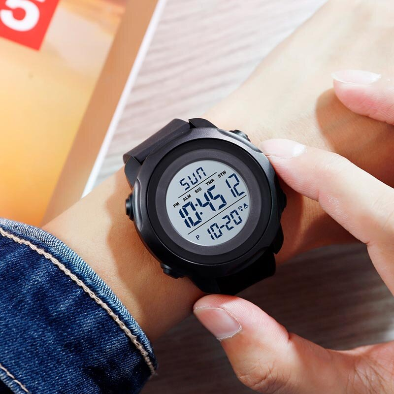 Outdoor Sport Men Watch Big Dial 50m Waterproof Alarm Luminous Calendar Multifunction Digital Watch