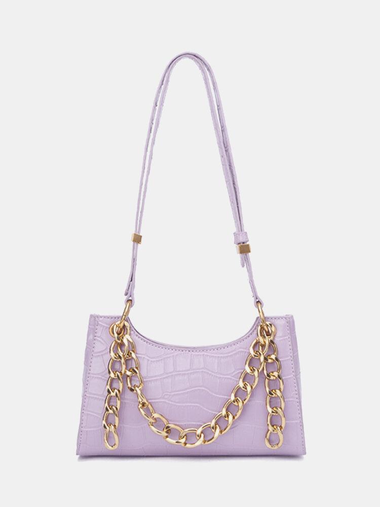 Women Thick Chain Alligator Crossbody Bag Shoulder Bag Satchel Bag
