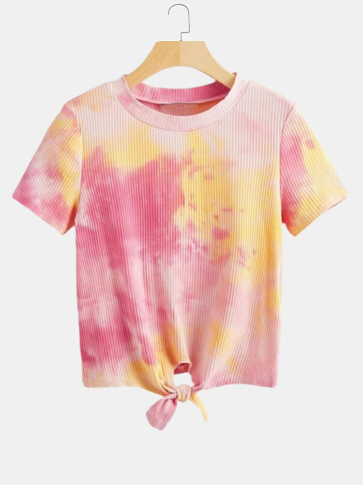 Tie-Dye Print Knotted Short Sleeves O-neck Casual T-shirt For Women