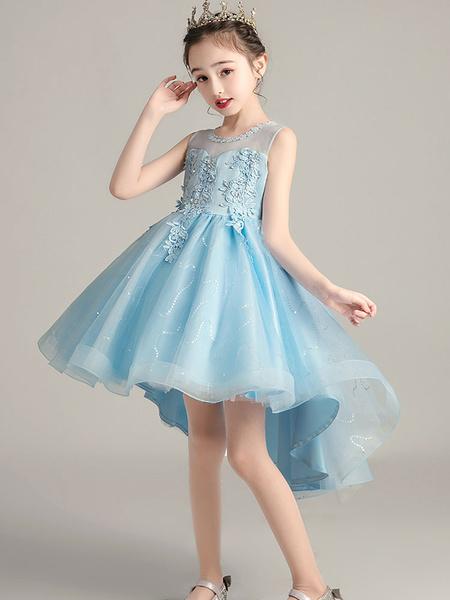 Milanoo Flower Girl Dresses Jewel Neck Sleeveless Embroidered Formal Kids Pageant Dresses