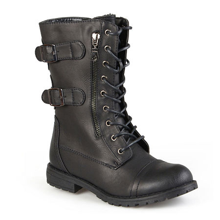 Journee Collection Womens Cedes Lace-Up Boots, 8 1/2 Medium, Black