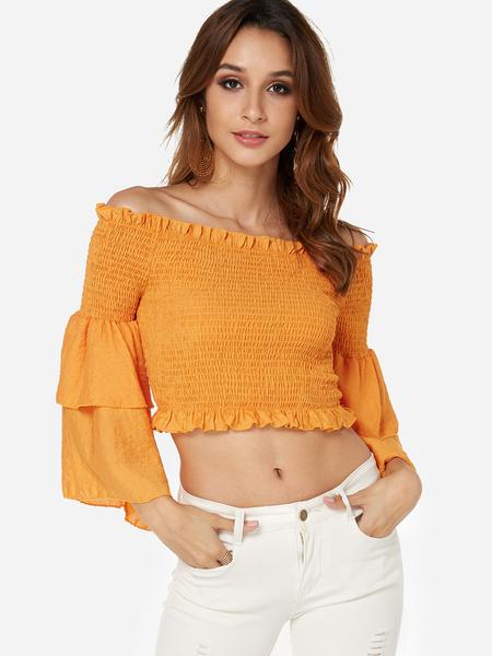 Yoins Orange Off The Shoulder 3/4 Length Tiered Bell Sleeves Ruffle Hem Blouse
