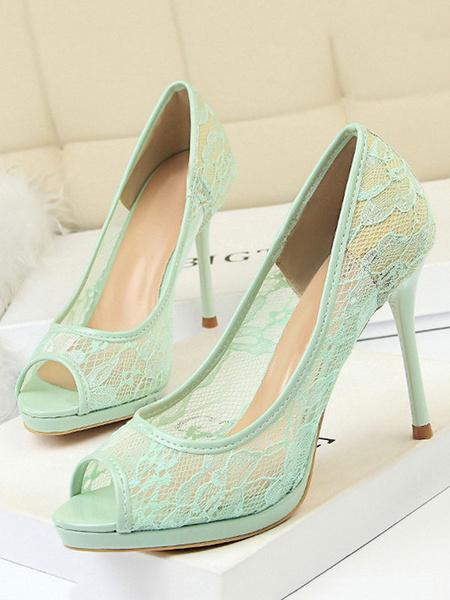 Milanoo Zapatos de vestir de las mujeres Peep Toe Stiletto Heel Pumps Black High Heels
