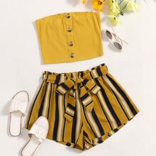 Rib-knot Buttoned Tube Top & Paperbag Waist Belted Striped Shorts Set