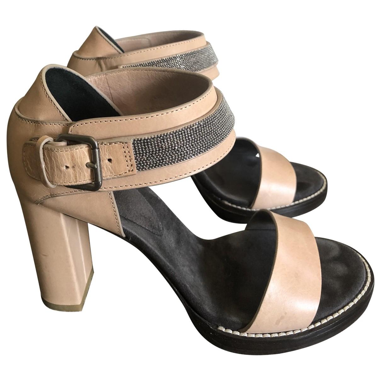 Brunello Cucinelli \N Beige Leather Sandals for Women 38 EU