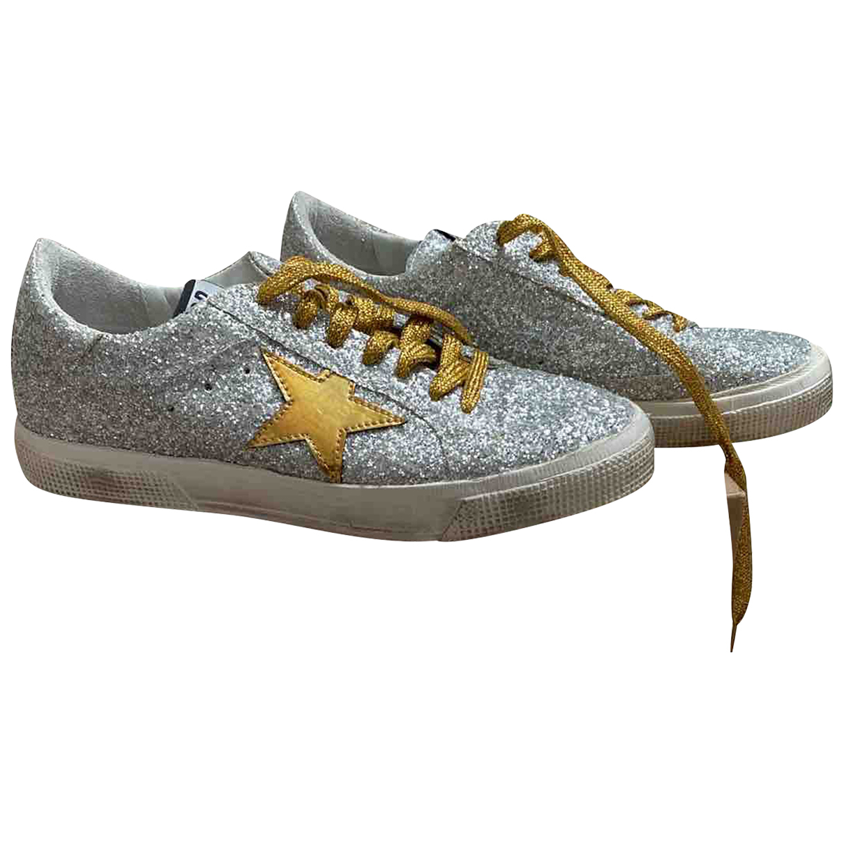 Golden Goose May Sneakers in  Silber Mit Pailletten