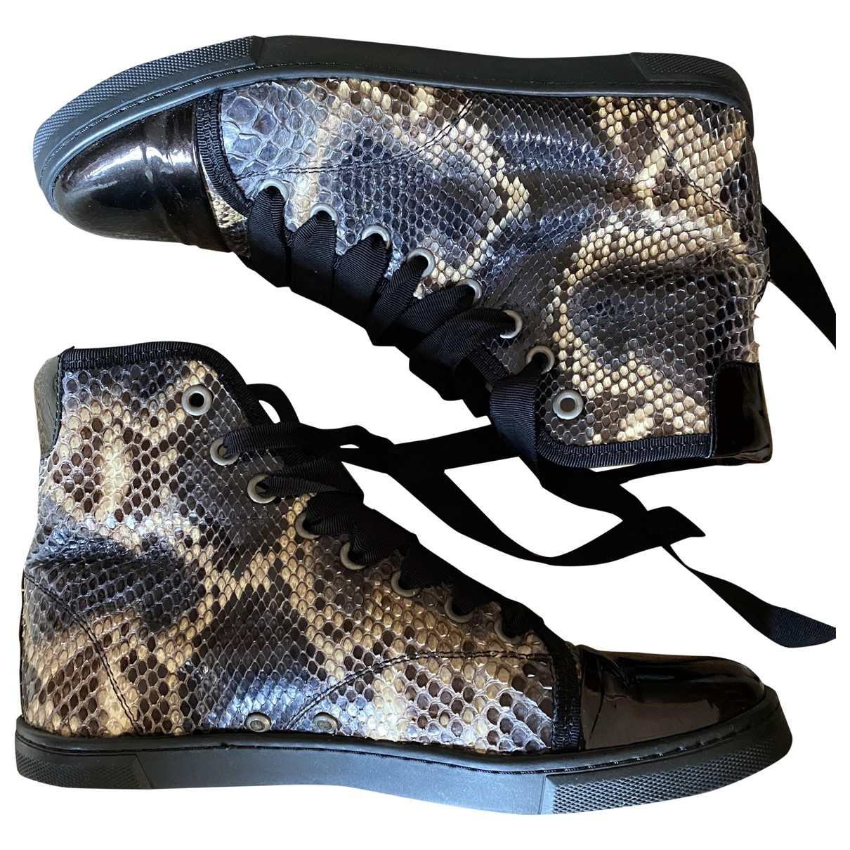 Lanvin - Baskets   pour femme en serpent deau - noir