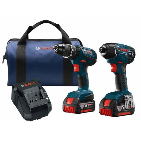 Bosch 18V 2-Tool Combo Kit with 1/2 In. Compact Tough Hammer Drill/Driver and 1/4 In. Hex Impact Driver