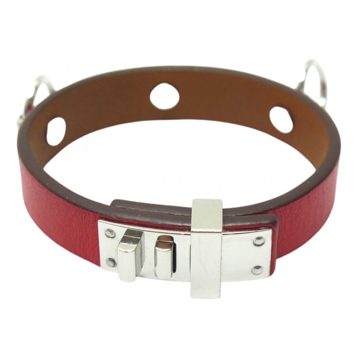 Hermes - Bracelet Mini Dog pour femme en cuir - rouge