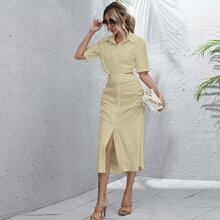 Button Front Ruched Detail Cut Out Shirt Dress