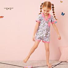 Schlafanzug Set mit ueberallem Einhorn Muster