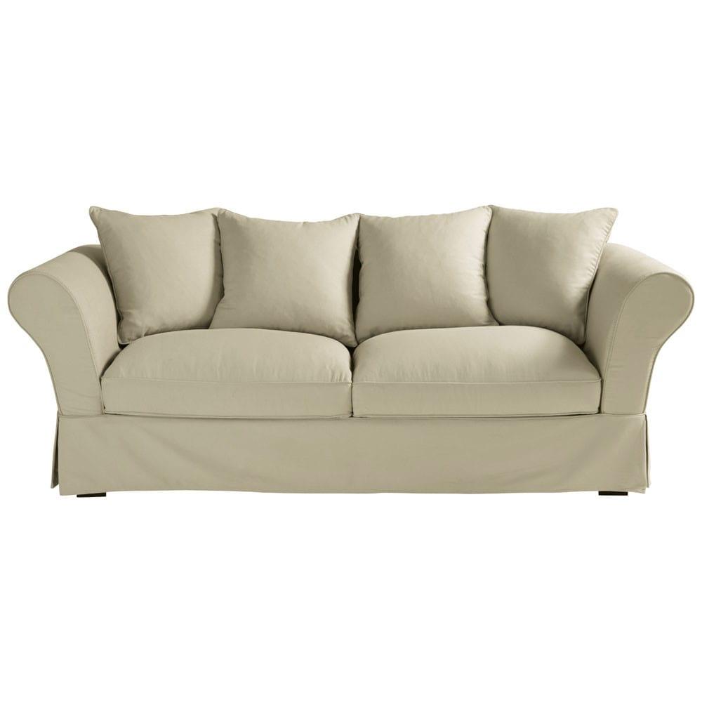 Sofa 3-/4-Sitzer aus Baumwolle, graubeige Roma
