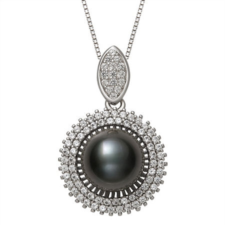 Womens Black Cultured Tahitian Pearl Sterling Silver Pendant Necklace, One Size , No Color Family