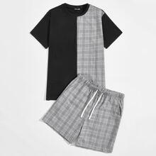 Gespleisstes Top mit Karo Muster & Shorts mit Kordelzug um die Taille Set