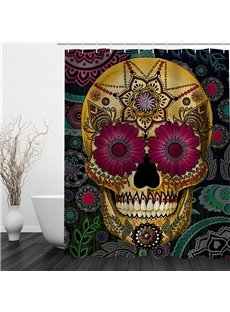 3D Skull Disguised by Flowers Polyester Waterproof Antibacterial and Eco-friendly Shower Curtain