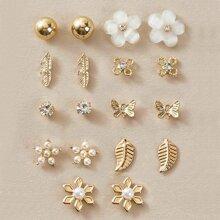 9 Paare Maedchen Ohrringe mit Kunstperlen Dekor