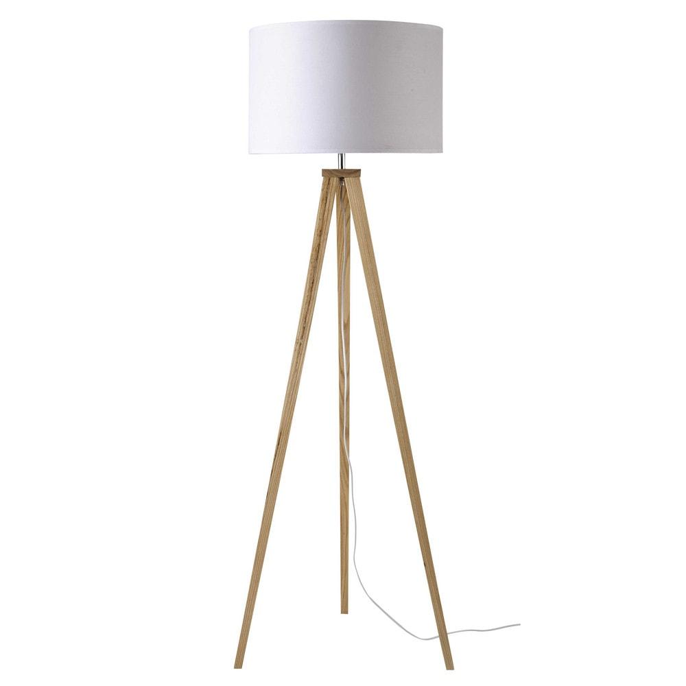 Stehlampe aus Eschenholz mit Lampenschirm aus weisser Baumwolle, H156