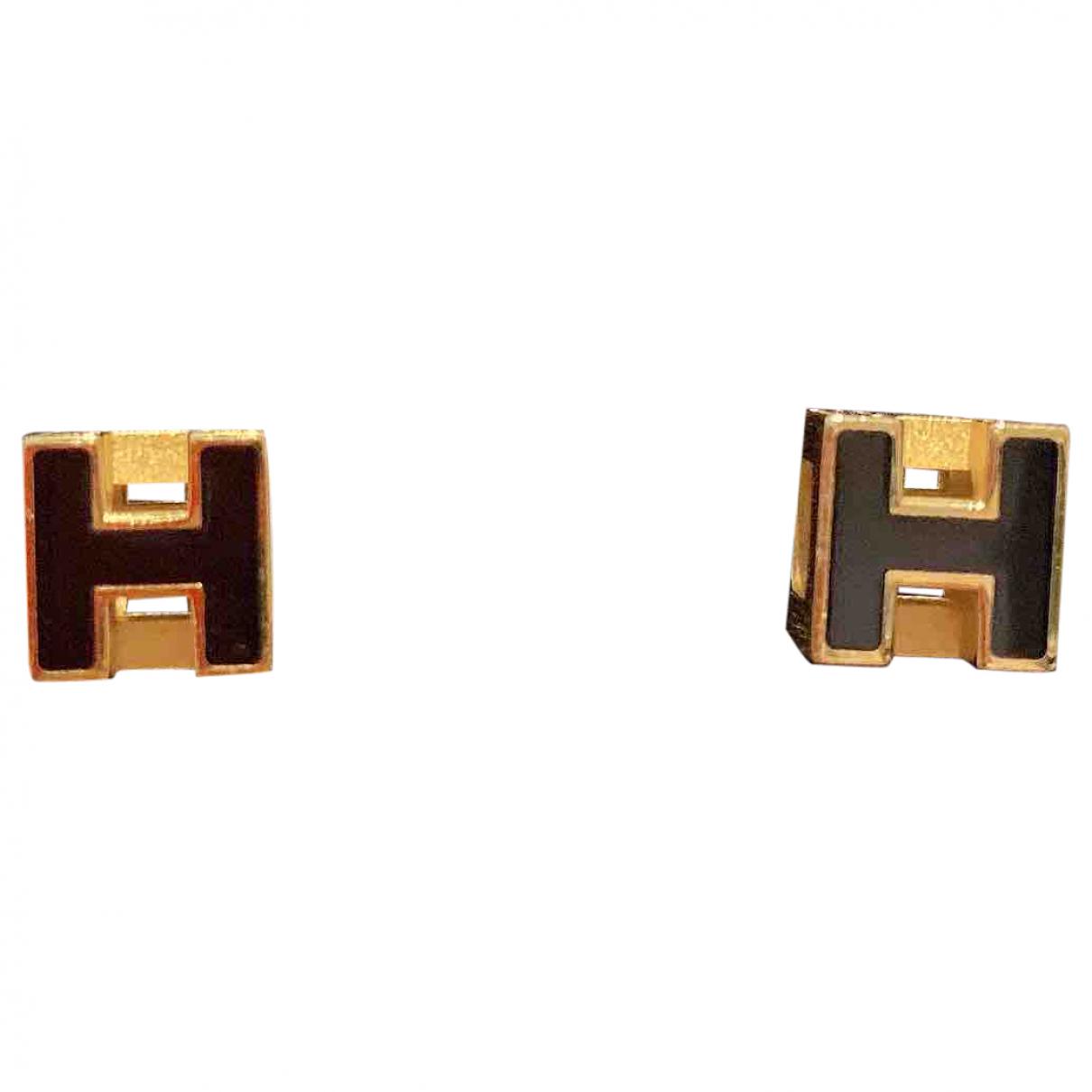 Hermes - Boucles doreilles Cage dH pour femme en metal - noir