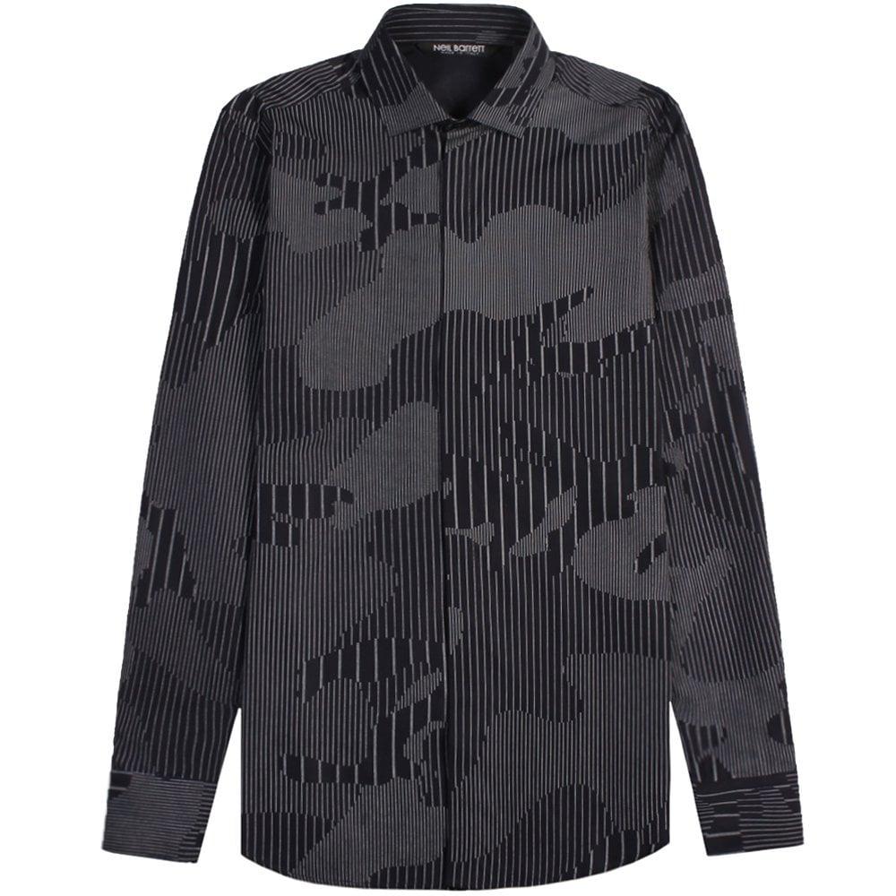 Neil Barrett Camouflaged Pinstripe Shirt Dark Navy Colour: BLACK, Size: MEDIUM