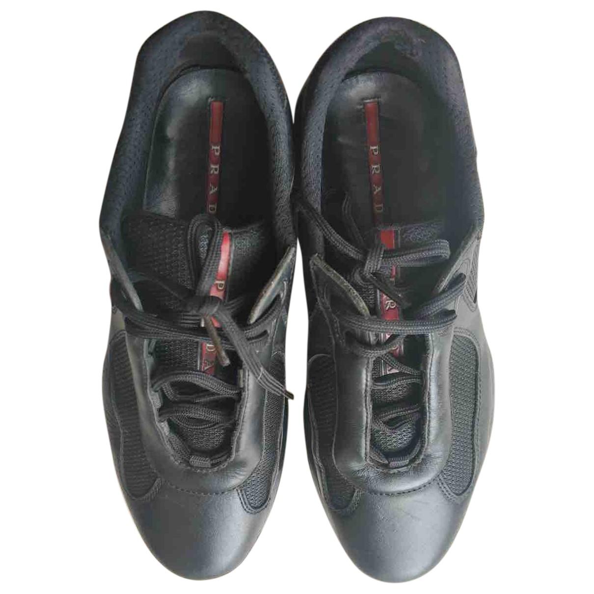Prada N Black Leather Trainers for Men 7.5 UK