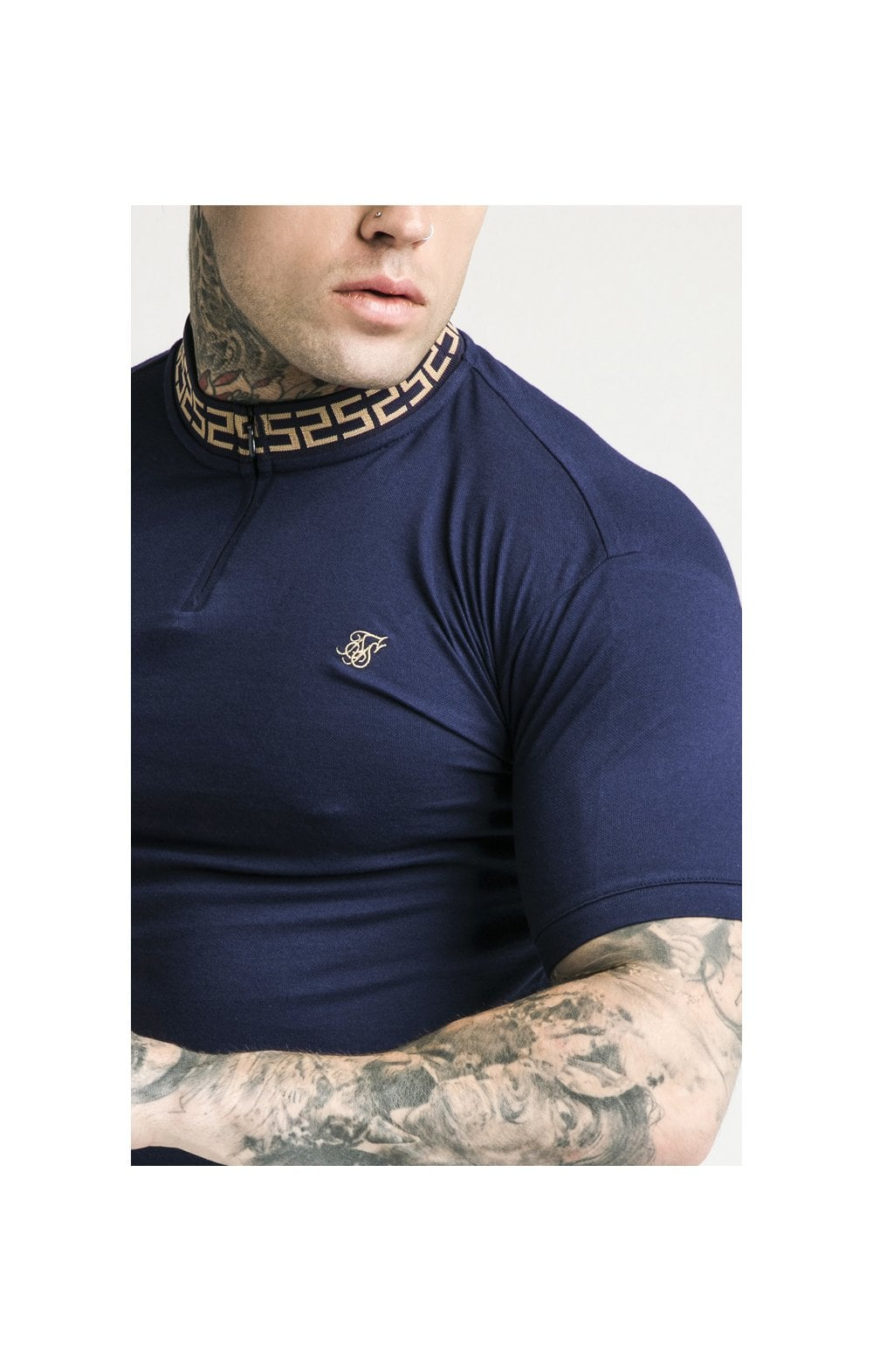 SikSilk S/S Chain Rib Collar Polo  Navy MEN SIZES TOP: Extra Large