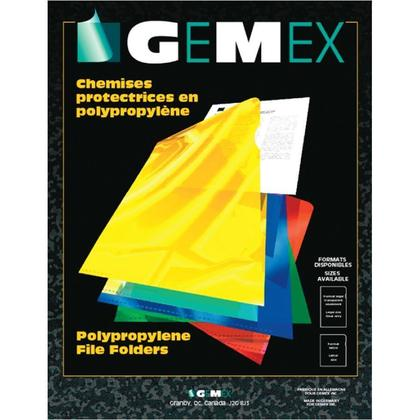 GEMEX@ Translucent Polypropylene Protective Two Sealed Folder, 10 folders per pack - Clear, Letter