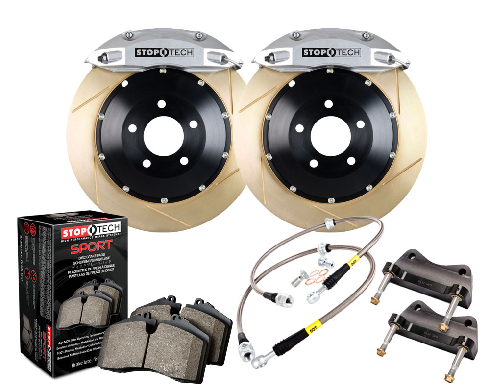 StopTech 83.895.4300.63 Big Brake Kit; Black Caliper; Slotted Two-Piece Rotor; Rear Front