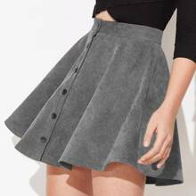 Button Up Corduroy Skater Skirt